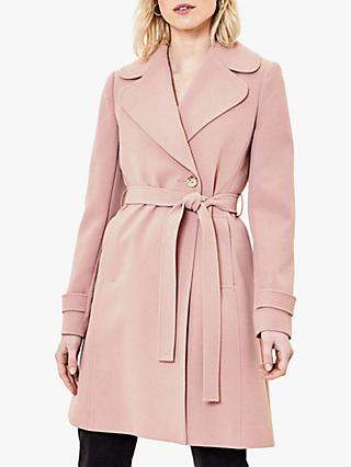 Oasis Scallop Trim Wrap Coat, Dusty Pink