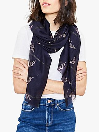 Oasis Foil Butterfly Scarf, Navy/Rose Gold