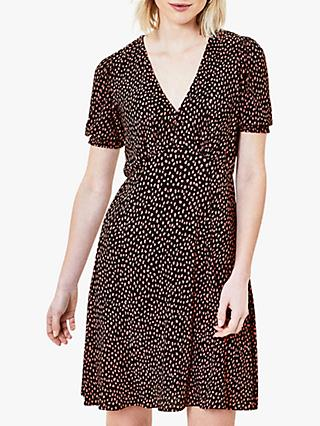 Oasis Animal Print Tea Dress, Black/Multi