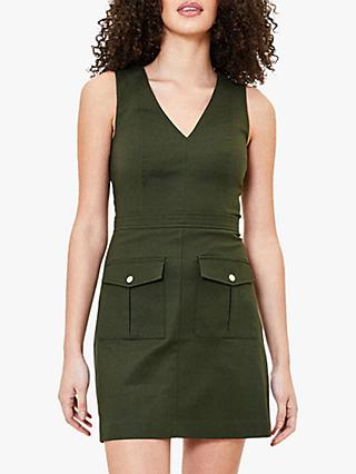 Oasis V Neck Utility Dress, Khaki