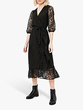 Oasis Lace Wrap Midi Dress, Black