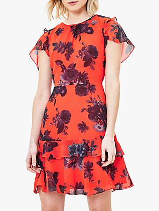 Oasis Shadow Floral Mini Dress, Orange