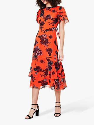 Oasis Shadow Floral Midi Dress, Orange