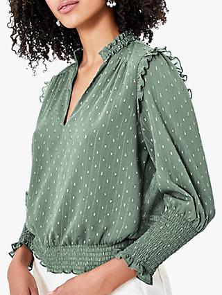 Oasis Shirred Sparkle Ruffle Blouse, Khaki
