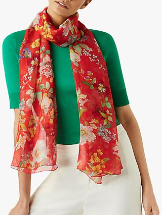 Hobbs Sarah Silk Floral Scarf, Orange/Multi