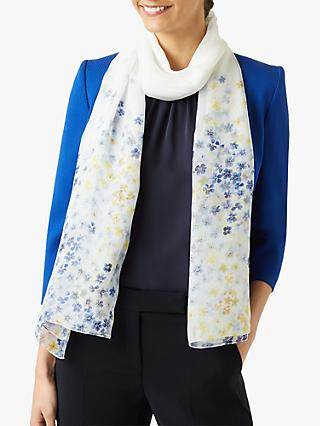 Hobbs Fiona Silk Floral Scarf, Ivory/Multi