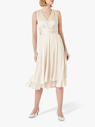 Hobbs Viola Satin Dress, Blush