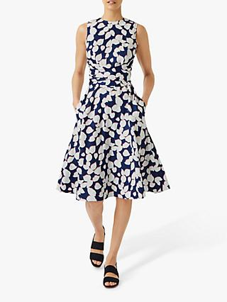 Hobbs Linen Twitchill Floral Midi Dress, French Navy