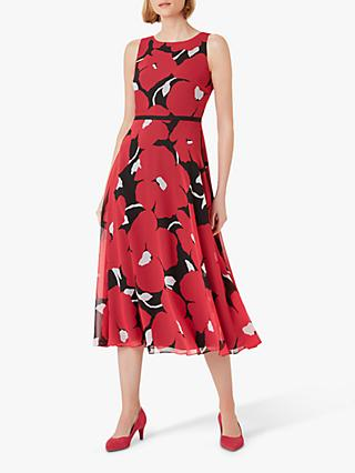 Hobbs Carly Floral Dress, Pink/Black