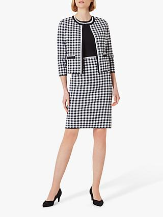 Hobbs Saffi Knitted Check Mini Dress, Navy/White
