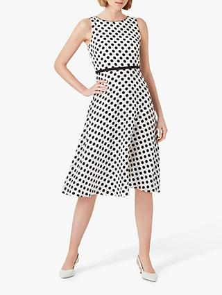 Hobbs Adeline Spot Dress, Ivory/Black