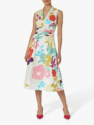 Hobbs Marie Floral Midi Dress, White