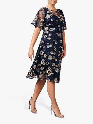Studio 8 Steff Floral Print Sheer Sleeve Dress, Navy/Multi