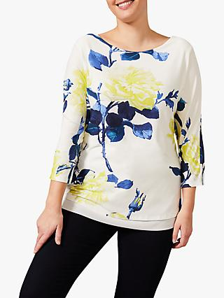 Studio 8 Mina Floral Print 3/4 Length Sleeve Top, Ivory/Multi