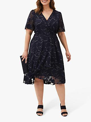 Studio 8 Polly Floral Print Knee Length Dress, Navy