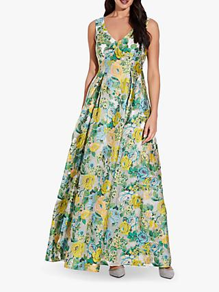 Adrianna Papell Sleeveless Floral Print Gown, Green/Multi