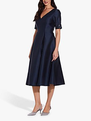 Adrianna Papell Mikado Beaded Sleeve Party Dress, Midnight