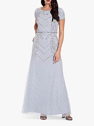 Adrianna Papell Long Beaded Short Sleeved Gown, Glacier