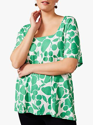 Studio 8 Piera Floral Print Square Neck Top, Green/Ivory