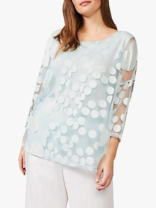 Studio 8 Jasmine Semi Sheer Sport Print Top, Pale Blue