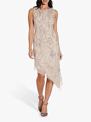 Adrianna Papell Asymmetrical Floral Beaded Knee Length Dress, Biscotti