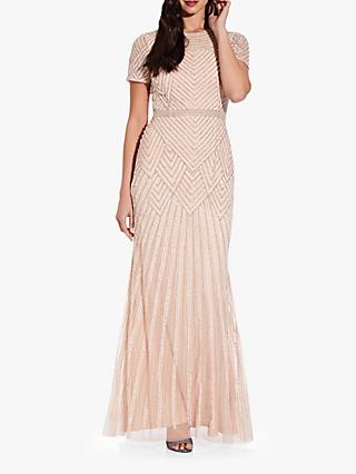 Adrianna Papell Short Sleeve Sequin Embellished Maxi Dress, Champagne Sand