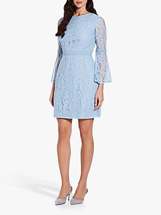 Adrianna Papell Bell Sleeve Lace A-Line Dress, Powder Blue