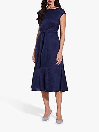 Adrianna Papell Satin Jacquard Floral Print Midi Dress, Navy