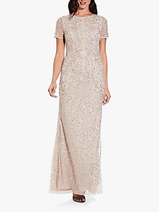 Adrianna Papell Long Beaded Embellished Gown, Biscotti