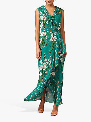 Phase Eight Sofia Floral Print Maxi Wrap Dress, Pine Green/Multi