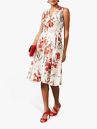 Phase Eight Sofia Floral Print Cotton Midi Dress, Ivory/Fire
