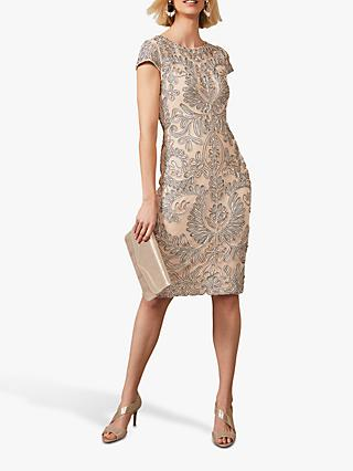 Phase Eight Genevieve Tapework Detail Knee Length Dress, Oyster/Navy