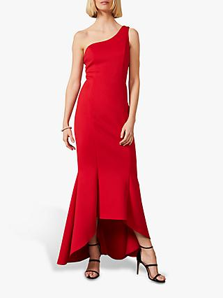 Phase Eight Dahlia One Shoulder Fishtail Hem Dress, Scarlet