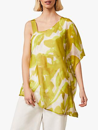 Phase Eight Coline Asymmetric Floral Print Blouse, Chartreuse