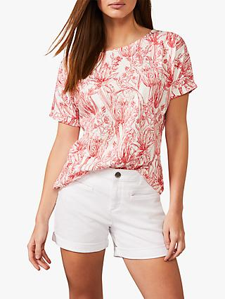 Phase Eight Berkley Floral Print Cotton Top, Red/Ivory