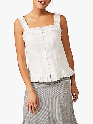 Phase Eight Linen Frill Cami, White
