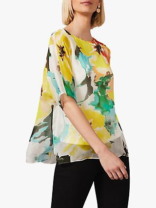 Phase Eight Melita Floral Print Silk Blouse, Multi