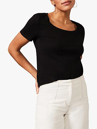 Phase Eight Elspeth Scoop Neck T-Shirt, Black