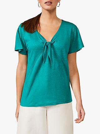 Phase Eight Indee Linen Knot Front Top, Topaz