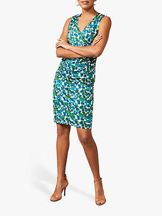 Phase Eight Clementine Floral Print Mini Wrap Dress, Ivory/Apple Green