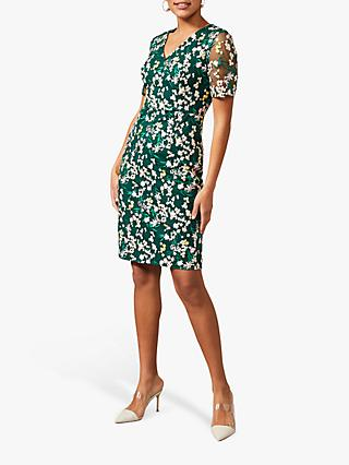 Phase Eight Oralie Floral Print Mini Dress, Pine Green/Multi