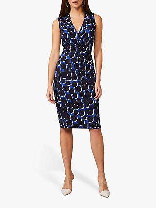 Phase Eight Sakie Abstract Print Wrap Dress, Navy/Cobalt
