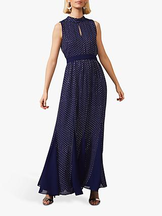 Phase Eight Collection 8 Pippa Spot Print Blouson Maxi Dress, Cobalt