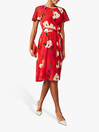 Phase Eight Lou Poppy Printed Chiffon Dress, Fire