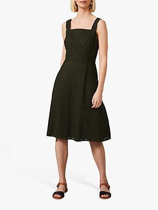 Phase Eight Olymea Cotton Broderie Knee Length Dress, Khaki