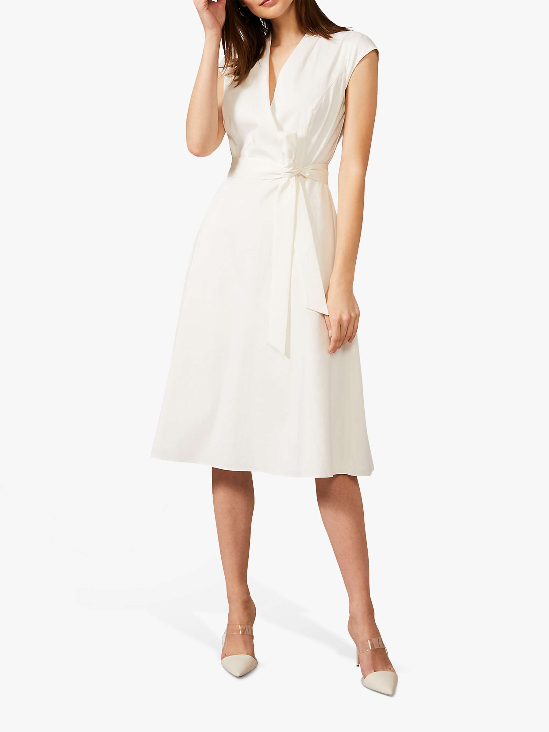 Phase Eight Gracelyn Knot Belt Midi Dress, Ivory