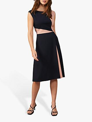 Phase Eight Indre A-Line Midi Dress, Navy/Nude