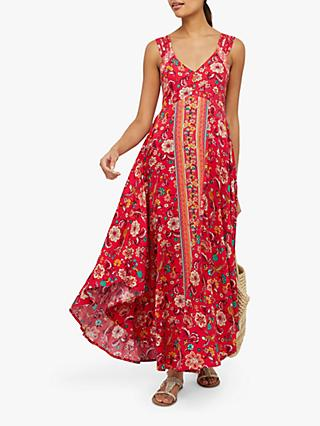Monsoon Lauren Print Floral Dress, Red