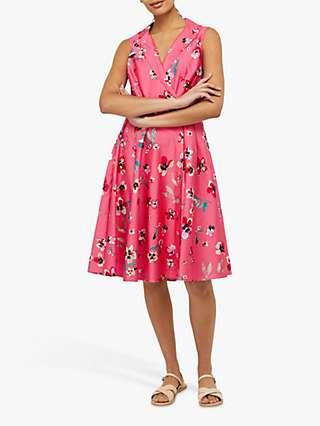 Monsoon Maisy Floral Print Knee Length Dress, Pink/Multi
