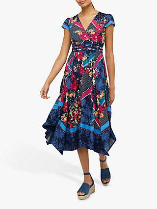 Monsoon Grace Floral Midi Dress, Navy